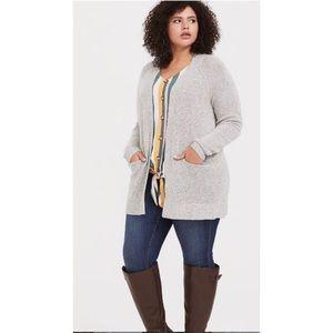 Torrid long grey open front pocket sweater 2